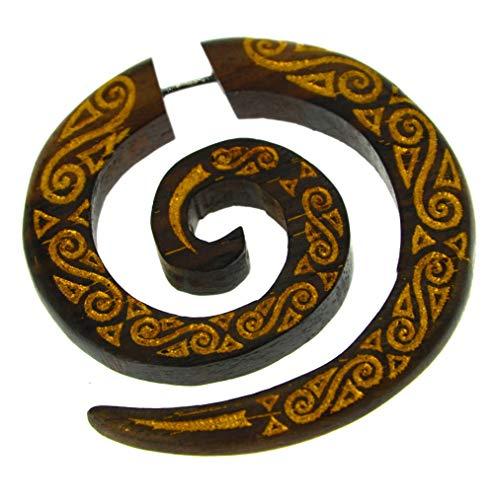 CHICNET Piercing falso de 1 mm, espiral, color dorado, pintado en espiral, madera, marrón, dilatador, espiral, tribal, joya