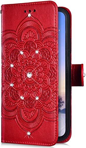 Uposao Kompatibel mit Samsung Galaxy A10S Handyhülle Mandala Blumen Muster Diamant Bling Glitzer Strass Schutzhülle Flip Wallet Bookstyle Klapphülle Leder Hülle Magnet Kartenfächer,Rot