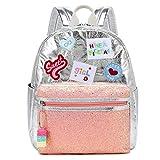 willikiva Kids Backpack for Girls Toddler Kindergarten Embroidered Backpack Waterproof preschool Bag (Silver)