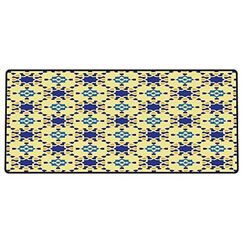 Alfombrilla de ratón para Juegos 600 x 300x3 mm,Motivo de cerámica étnico, marroquí con Arabesco Persa Efectos folclóricos Diseño Antiguo, Violet Base de Goma Antideslizante, Adecuada para Jugadores