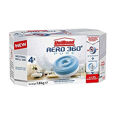 UniBond AERO 360 Degree Moisture Absorber Neutral Refill Tab, Ultra-Absorbent and Odour-Neutralising for AERO 360 Degree Dehumidifier, Condensation Absorbers, Pack of 4 (4 x 450 g) by Henkel