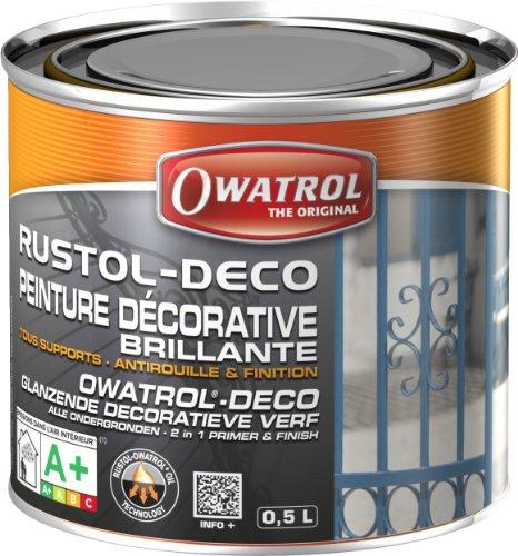 Owatrol Rustol-Deco - Vernice decorativa brillante 0,5 L, colore: Marrone