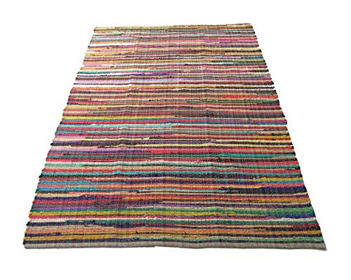 Chardin Home - Eco Friendly 100% Recycled Cotton Colorful Chindi Area Rug – 8'x10'