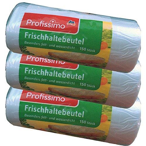 Profissimo Tragegriff Frischhaltebeutel 25 cm x 26 cm, 3er Pack (3 x 150 Stck. Packung)