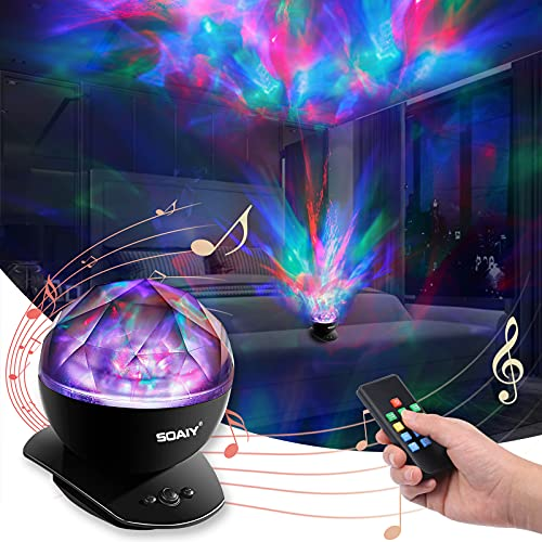 Aurora Night Light, LED Aurora Projector Night Lamps with Remote, 8 Mode Lighting Shows, Built in Speaker and Timing, Mood Relaxing Soothing Night Light for Baby Kids Adults (UL Adapter)