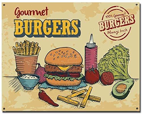 Mesllings - Placa metálica decorativa para pared, diseño de hamburguesas gourmet