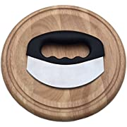 Checkered Chef Mezzaluna Chopper With Cutting Board Set - Rocker Knife - Mincing Knife With Cover and Herb Board - Round Wooden Curved Board