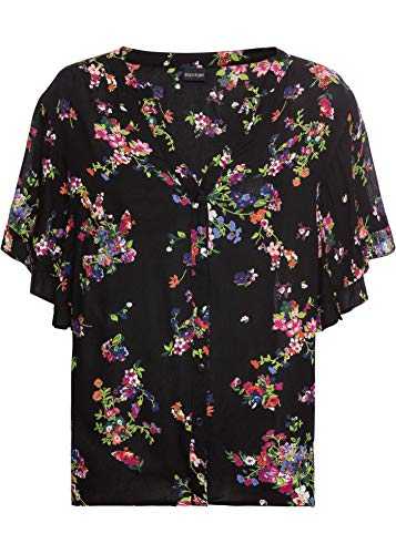 bonprix Modisch Bedruckte Bluse mit Ärmelvolants schwarz geblümt 38 für Damen