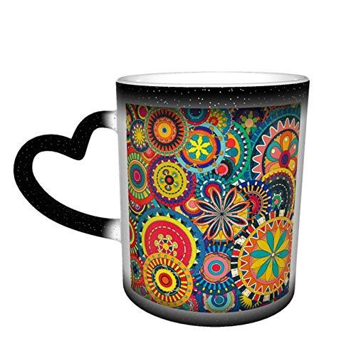 Taza de café cambiante mágica, círculo abstracto, colores coloridos, flores de arte digital personalizadas, impresión personalizada, taza de cerámica sensible al calor, para regalo, té, café