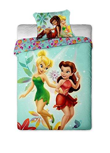 Disney Fairies - Juego de funda de edredón para cama individual, diseño