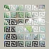 SUNIY 32 pegatinas de pared de espejo acrílico desmontables, diseño geométrico griego, para el hogar, salón, dormitorio, decoración (plata)