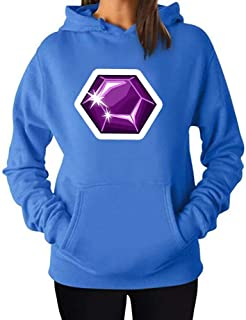 Womens Hoodie Pullover Sweatshirt Pockets Fashion Diamond Bling Print Outwear Winter Hooded