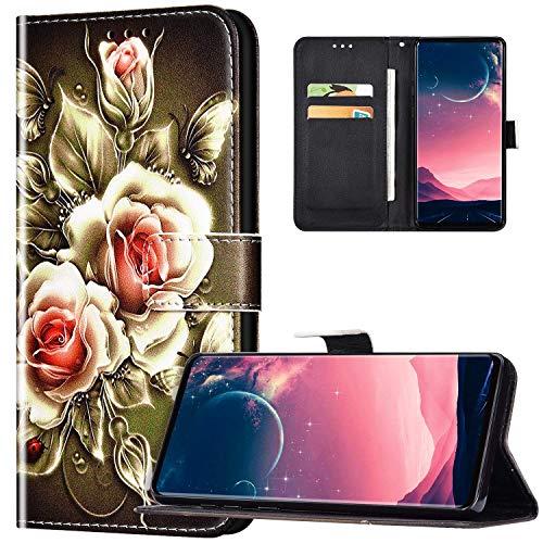 JAWSEU Coque Xiaomi Redmi 7A Portefeuille PU Cuir Étui pour Xiaomi Redmi 7A,Rétro Motif Livre à Rabat Coque Housse Protection Magnétique avec Support Wallet Flip Case,Rose sur noir