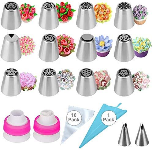 LUOWAN Set Decoración de Cupcakes 27pcs Boquillas Rusas de Repostería Boquillas pasteleras...