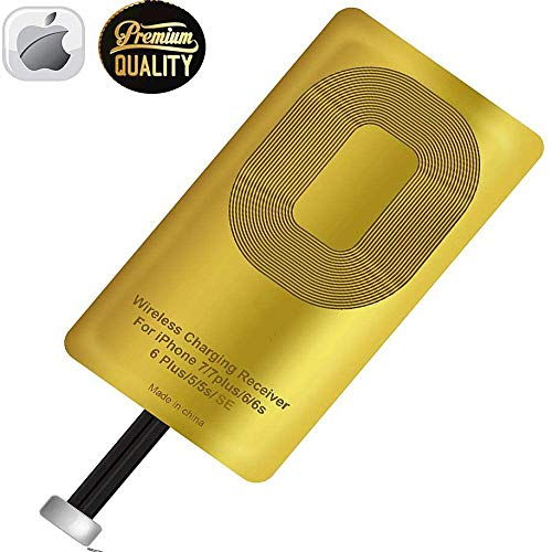 Wireless Charger Adapter for iOS, Qi Receiver Compatible with iPhone 5,5S,6,6S,6Plus,7,7S,7Plus,SE, Charging Pad