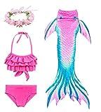 Hifunbay Cola de Sirena Niña para Nadar Incluido Traje de Sirena Baño de Bikini de 3...