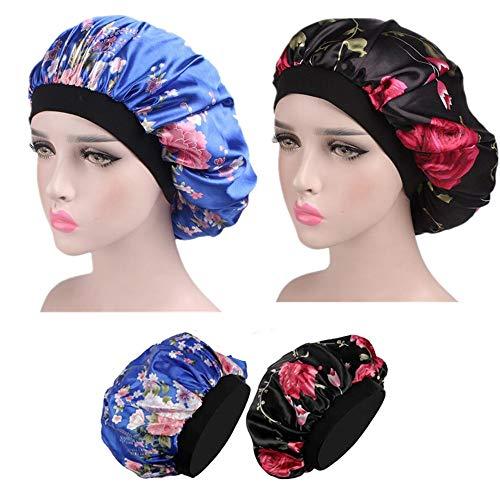 Bonnet de Sommeil,2 Pièces Satin Capuchon de Sommeil Élastique Large Bande Sommeil Bonnet pour Femmes Filles Dormir Chimio Perte de Cheveux