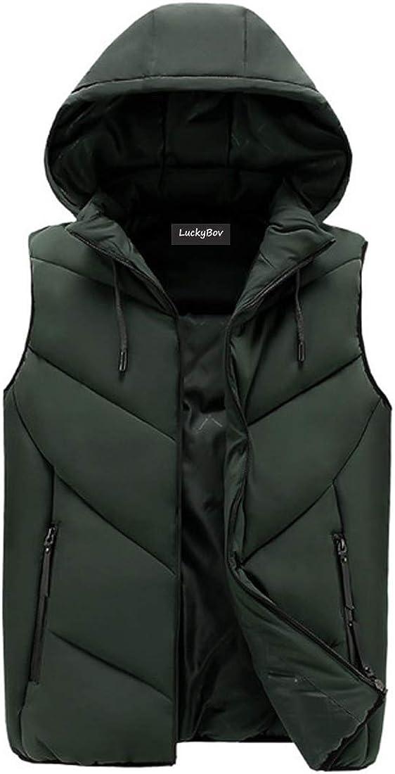 LuckyBov Men Down Hooded Jacket Sleeveless Thicken Thermal Waistcoat Winter