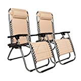 Matladin Set of 2 Zero Gravity Lounge Recliner Chair w/Side Table and Removable Pillow for Patio Poolside Camping 265 lbs Weight Capacity (Khaki) (Khaki)