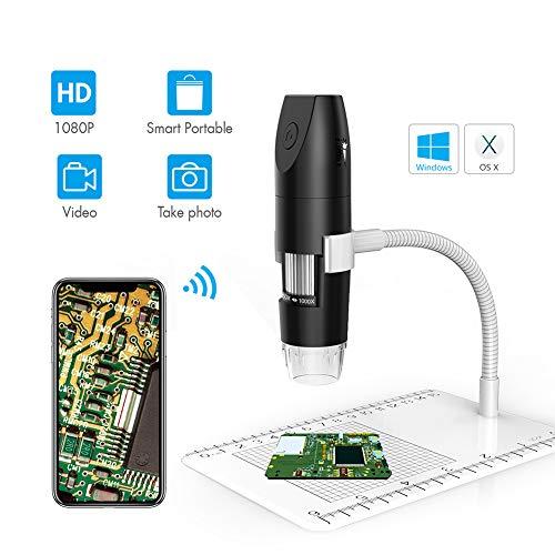 IGRNG Microscopio electrónico de 2 Millones de WiFi portátil microscopio, microscopio Digital 1000X 1080P con la Cinta, El ámbito de Entrenamiento de interés correspondientes a los niños