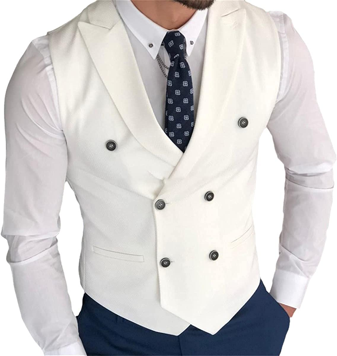 White slim men's vest with double-breasted one-piece custom men's suit vest with pointed lapel wedding