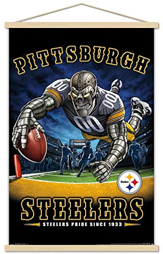Trends International NFL Pittsburgh Steelers - End Zone 17 Wall Poster with Wooden Magnetic Frame, 22.375' x 34', Premium Print and Beechwood Hanger Bundle