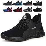 tqgold Zapatos de Seguridad para Hombre Mujer S3 Zapatillas de Trabajo con Punta de Acero Ligero Transpirable y Antideslizante(Talla 42,Negro)