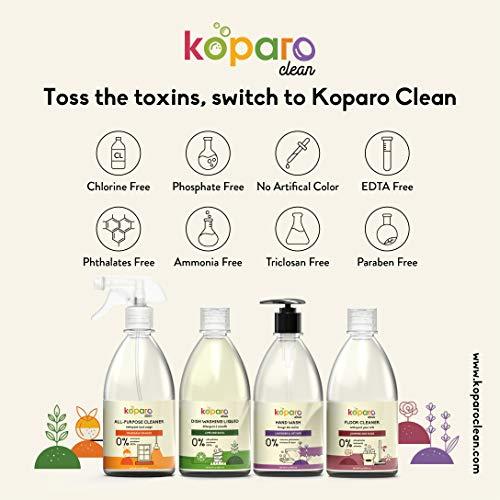 Koparo Clean Floor Cleaner   Natural Disinfectant Liquid   Kids and Pet Friendly   Long Lasting Mogra & Rose Fragrance - 500 ml