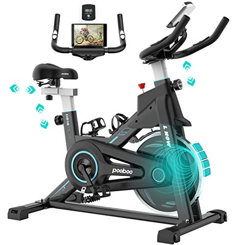 pooboo Indoor Cycling Bike Stationary, Exercise Bike with Adjustable Seat & Handlebar, Stationary bike with LCD Monitor & Large Device Holder, Smooth Quiet Home Workout (Indigo-blue)