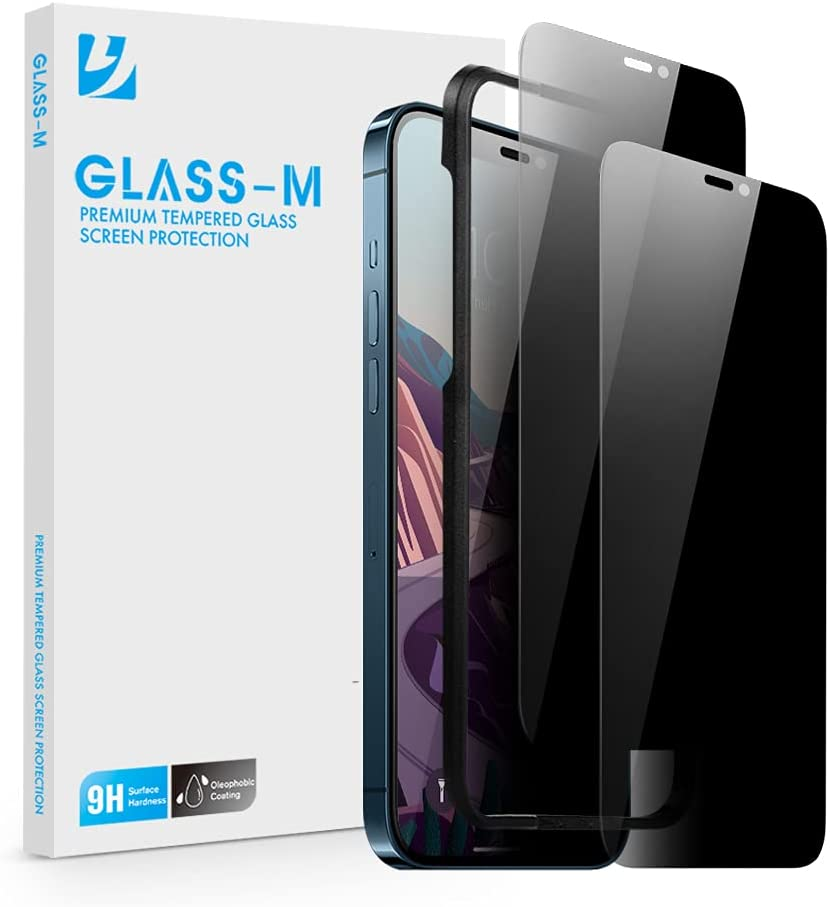 [2 Pack] GLASS-M Privacy Screen Protector for iPhone 12 Pro Max, Anti-Spy Tempered Glass with Easy Installation Frame, Anti-Peep Screen Cover