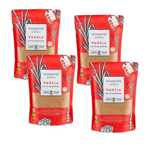 GUATAVITA de COLOMBIA Panela Vollrohrzucker aus Kolumbien I Panela-Zucker aus nachhaltigem Anbau & fair gehandelt I Vollrohrzucker reich an Mineralien & Vitamin B6 I Brauner Zucker I 4x500g