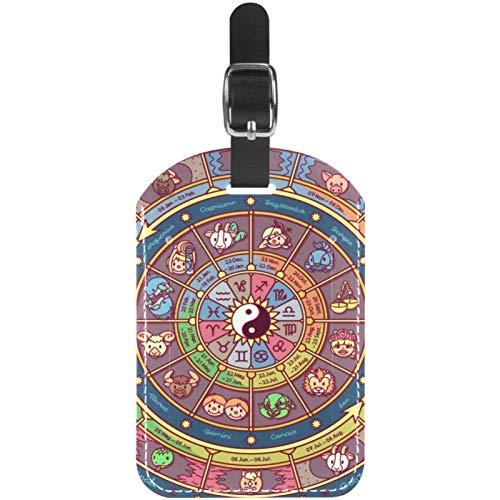 Etiquetas de equipaje astrológicas para ruedas de la fortuna de cuero, etiquetas para maleta de viaje, 1 paquete