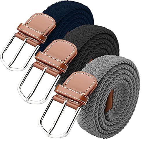 3Pcs Cinturón Trenzado Elástico Hombres Mujeres Cinturón Elástico Hombre Cinturón Tejido Elástico de Tela Hebilla de Aleación Cinturón Trenzado Hombre Mujer Unisex para Jeans (negro/azul marino/gris)