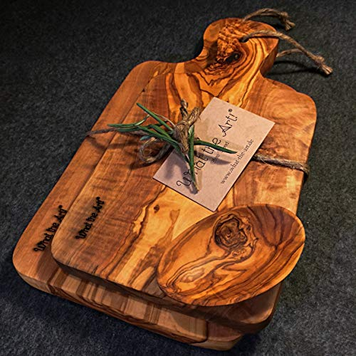 What the Art!® Olive Wood «Le Provençal Set» Gr. L | 2 Olivenholz Schneidebretter inkl. 2 Dip-Schälchen + Geschenk | ca. 27 x 13 cm & 30 x 15 cm | Bretterset - Käsebrett - Servierbrett - Küchenset