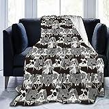 Nongmei Manta de Tiro Personalizada,Patrón con Personajes Punk y Caballero Europeo Bulldog inglés,Manta de Felpa Suave para sofá,Dormitorio,Viaje,Manta mullida 60'X80'