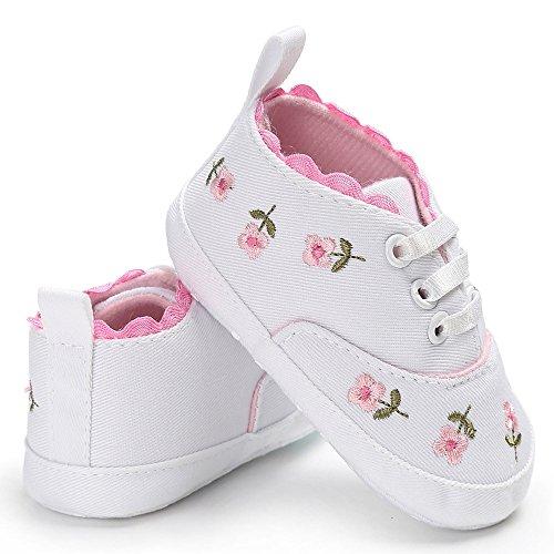 Sapatos de lona para bebês – 0 – 18 meses tênis infantil para meninos e meninas, antiderrapante, sapatos de berço para recém-nascidos, Branco, 12