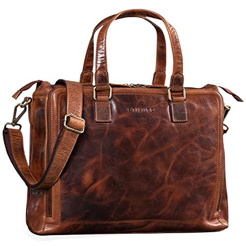STILORD \'Claire\' Businesstasche Damen Leder 15 Zoll Laptoptasche DIN A4 Aktentasche Umhängetasche und Handtasche Büro, Farbe:Kara - Cognac