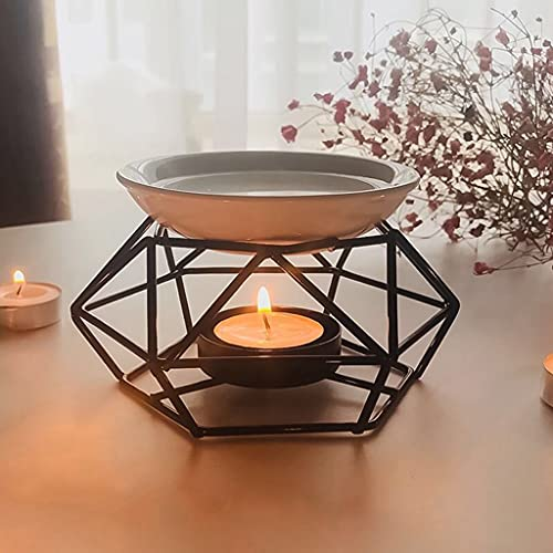 Xzbnwuviei Essential Oil Lamp,Aromatic Oil Burner, Geometric Ceramic Essential Oil Candle Holder Wax Melt Burner Warmer Melter Fragrance for Home Office Decoration