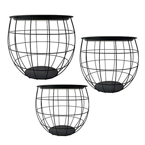 Cepewa Beistelltisch 3er Set Design rund aus Metall in schwarz weiß grau Silber Kupfer oder Gold Ø 29 cm Ø 38 cm Ø 50 cm (schwarz)