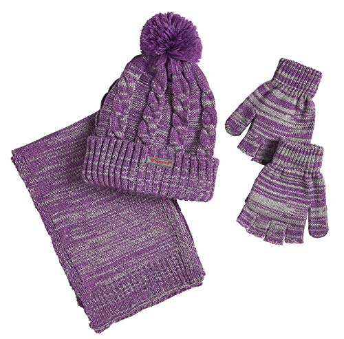 Sportoli Women's Girls' kids 3-Piece Cable Knit Cold Weather Set Hat Scarf Glove - Purple (Size Teens / 8-16 Yrs)