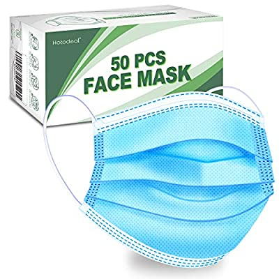 Hotodeal 50 Pcs Disposable Face Masks, Breathable Face Mask 3 Layer Protection Facemask, Lightweight Dust Protective Facial Masks for Adult, Men, Women, Indoor, Outdoor Use by Hotodeal