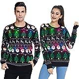 UNIFACO Herren Weihnachtspullover Lustig mit Led Hässliche Pullover Damen Ugly Weihnachtspulli Partnerlook Unisex Ugly Strickpullover Christmas Jumper Sweater