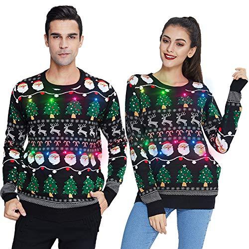 Unifaco – Jersey de Navidad unisex con LED para hombre, divertido suéter navideño de punto con cuello redondo, S-2XL Luz para árbol de Navidad. XXL