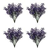 Zeayebsr 4pcs Flores Artificiales Decoracion Jarrones,Falsa Planta Artificial Exterior Interior con Rama de Arbusto Narciso Pequeña Flores para Jardinera Mesa Terraza Balcon-Almirantazgo Sauce Púrpura
