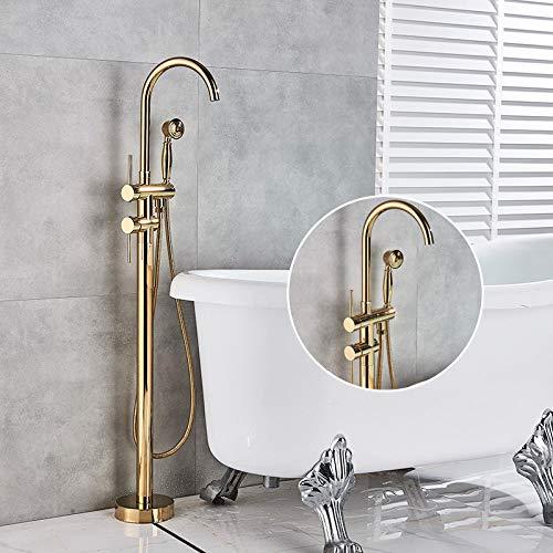 PLUIEX Grifo de bañera Grifo Mezclador de bañera de Ducha de baño de Bronce Negro contemporáneo Grifo de baño Grifo de bañera montado en el Suelo Manija única, Dorado H