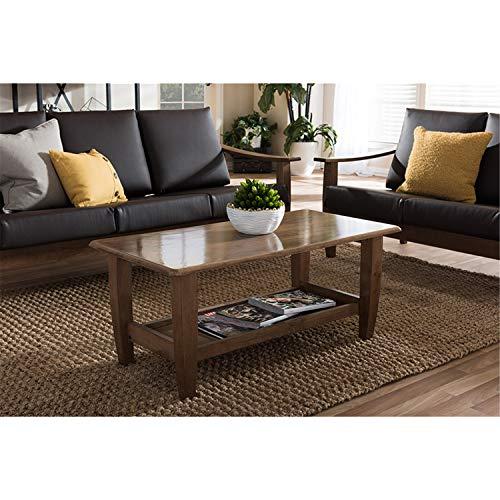 Baxton Studio Pierce Mid-Century Modern Walnut Finished Brown Wood Coffee Table