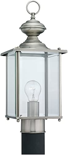 lowest Sea Gull Lighting 8257-965 Jamestowne Outdoor Post Lantern outlet online sale Outside Fixture, lowest One - Light, Antique Brushed Nickel outlet online sale