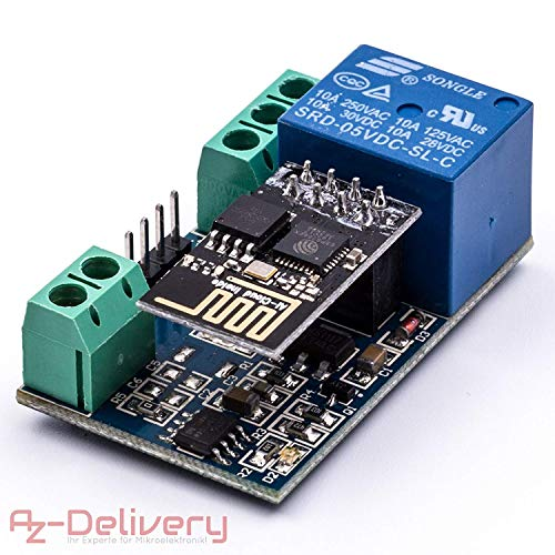 AZDelivery ESP8266-01S ESP-01 Wlan WiFi Modul mit Relais Adapter kompatibel mit Arduino inklusive E-Book!