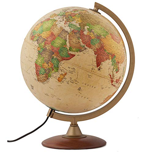 "Waypoint Geographic Light Up Globe - Journey 12"" Illuminated Antique Ocean Style World Globe with Wood Stand for Desk, Office, Home Decor - 1000's of Up to Date Places and Points of Interest"