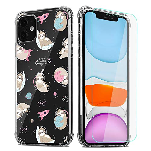 Sloth Phone Case for iPhone 11 with Screen Protector,Clear Space Sloth Pattern Soft & Flexible TPU Ultra-Thin Shockproof Transparent Bumper Protective Case for iPhone 11 6.1' 2019(Sloth)